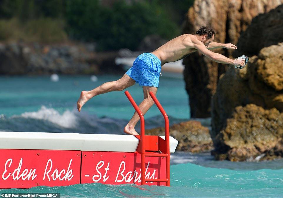 Adventurous James could be seen leaping off the jetty into the crystal blue waters following his sunbathing session