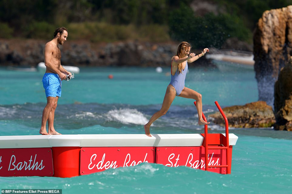 His girlfriend however was the first to take the plunge leaping into the sea while James watched on