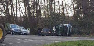 Images have emerged of a black Land Rover having rolled on its side following the crash with a people carrier Police and ambulance rushed to the scene where two people