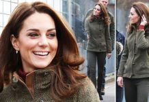 Kate Middleton news Prince William wife shows of long legs in khaki jeans today Image WENN