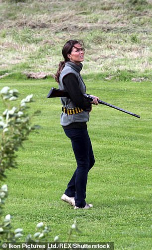 Kate pictured collecting birds at a shoot with Prince William in 2007 is said to be a keen markswoman