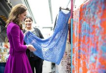 Kate visited the pattern room where she was shown the process of creating new costumes including sourcing fabrics and samples Photo C GETTY IMAGES