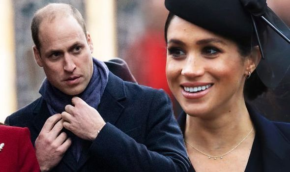 Meghan Markle news The were claims William appeared to ignore Meghan and rearranged his scarf Image GETTY