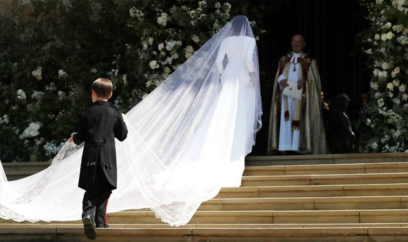 Meghan Markle wore a 16 ft cathedral length veil on her big day Image Getty