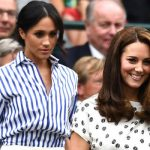 Meghan and Kate pictured together at Wimbledon last summer Image GETTY