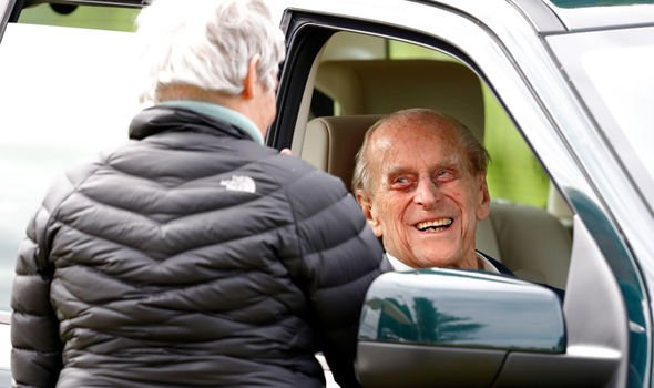 Prince Philip Duke of Edinburgh seen sitting in his Land Rover in May 2018 Image GETTY
