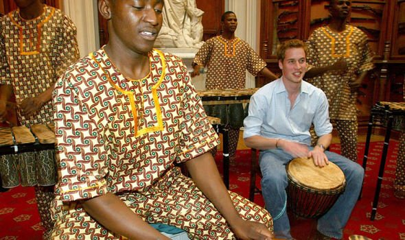 Prince William drumming with the band Shakiramba for his 21st party Image Getty