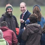 Prince William joked with locals who braved the cold conditions Image PA
