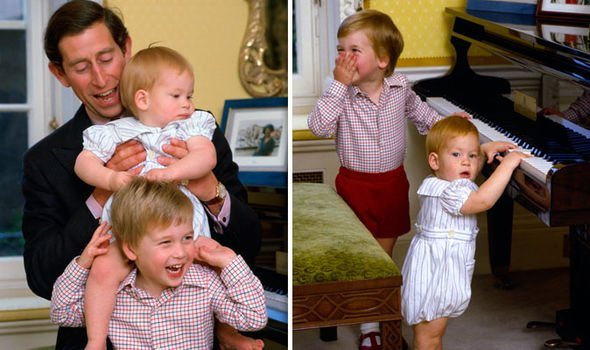 Princes William and Harry as toddlers at Kensington Palace Image Getty