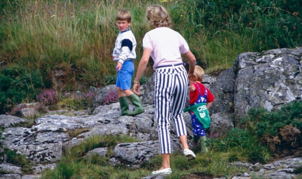Princes William and Harry on holiday with their mother Princess Diana at Balmoral in 1987 Image Getty