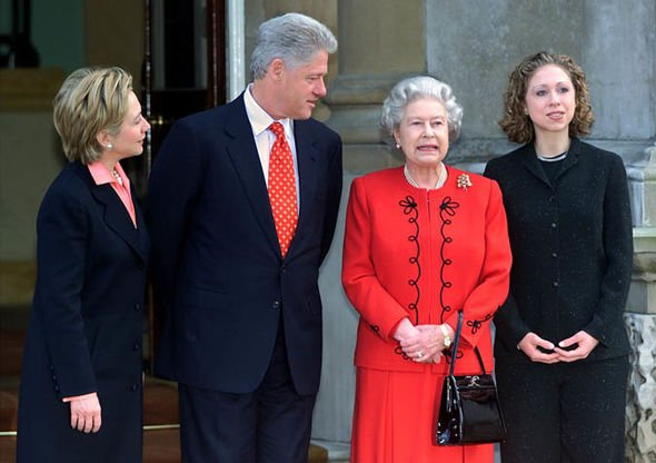 Queen Elizabeth II news The Queen had the bag when she met Bill and Hillary Clinton in 2000 Image GETTY