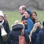 The Duchess of Cambridge received flowers from well wishers after attending the church service Image PA