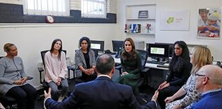 The Duchess of Cambridge sits with counsellors Image GETTY