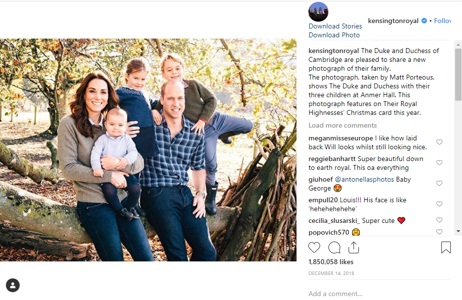 The Duke and Duchess of Cambridge are pleased to share a new photograph of their family Photo C INSTAGRAM
