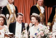 The Queen With President Reagan At A State Banquet At Windsor Castle Image GETTY
