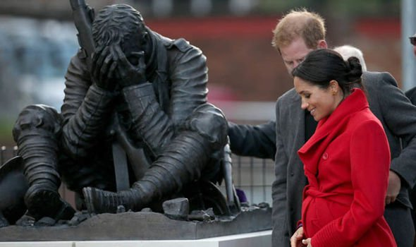 The pair visit a sculpture in Hamilton Sq to mark the 100th anniversary Wilfred Owens death Image PA