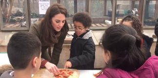 While speaking to the children the Duchess said that George and Charlotte would love to be learning outside