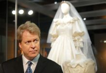 Dianas brother Charles Spencer at an exhibition of her wedding dress Image Getty