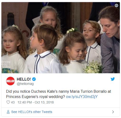 Did you notice Duchess Kates nanny Maria Turrion Borrallo at Princess Eugenies royal wedding Photo C TWITTER