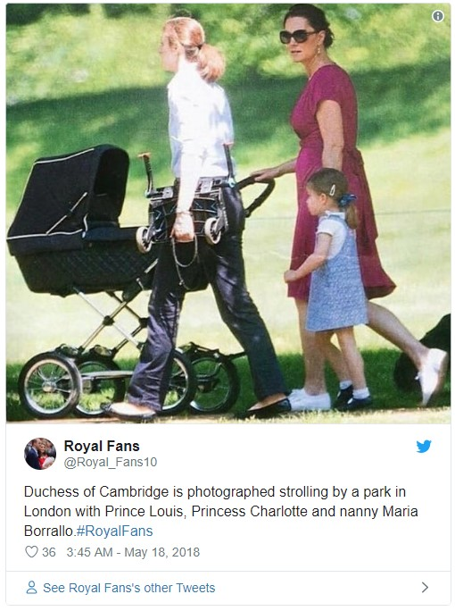 Duchess of Cambridge is photographed strolling by a park in London with Prince Louis Princess Charlotte and nanny Maria Borrallo Photo C TWITTER