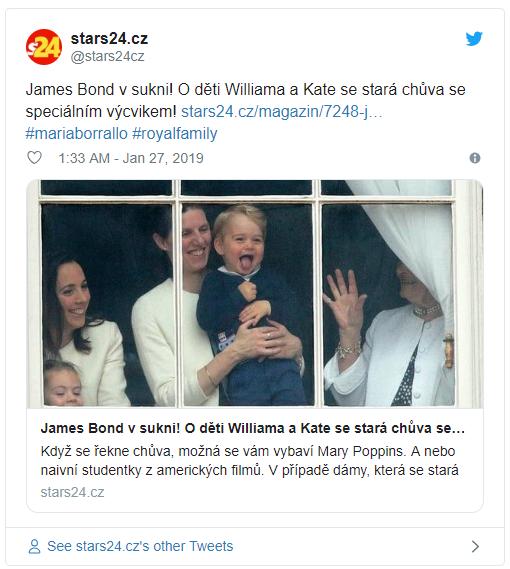 James Bond v sukni O děti Williama a Kate se stará chůva se speciálním výcvikem Photo C TWITTER