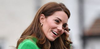 Kate Middleton is a dream in bright green jumper dress and funky boots at London School Image Getty