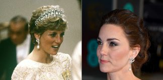Kate borrowed a pair of Princess Dianas exquisite earrings for the glitzy night out Photo C GETTY IMAGES