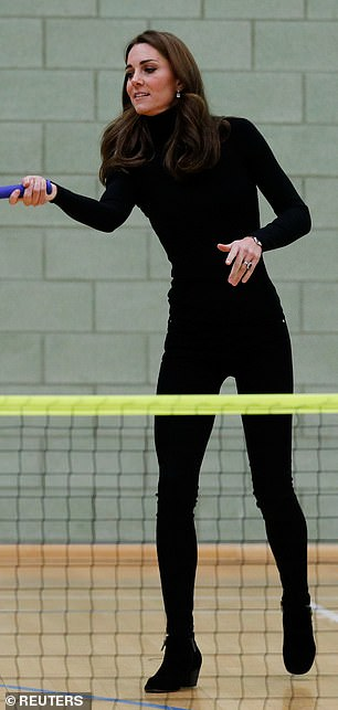 Kate ditched her usual blue jeans for black skinnies teamed with a polo neck for a turn on the tennis court in Essex in October of that year