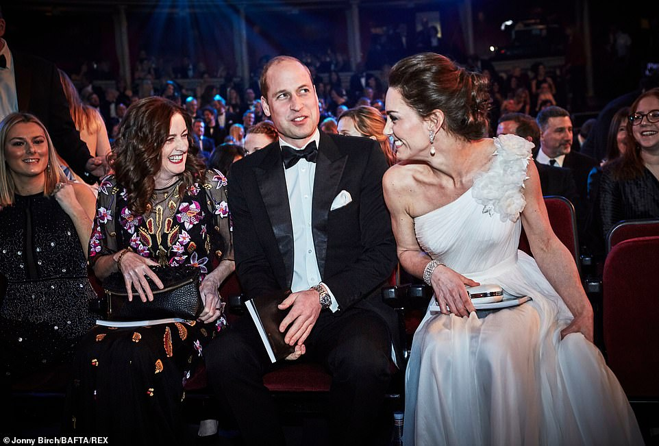 Kate shares a giggle with BAFTA chief executive Amanda Berry second left In a fitting tribute to Princess Diana