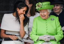 Meghan Markle and Queen Elizabeth II Jeff J Mitchell Getty Images