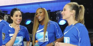 Meghan and Serena Williams at the DirecTV Beach Bowl in New York in Photo Getty