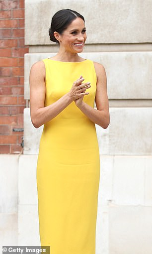 Mellow yellow Meghan made headlines when she wore this canary hued Brandon Maxwell dress in London in July