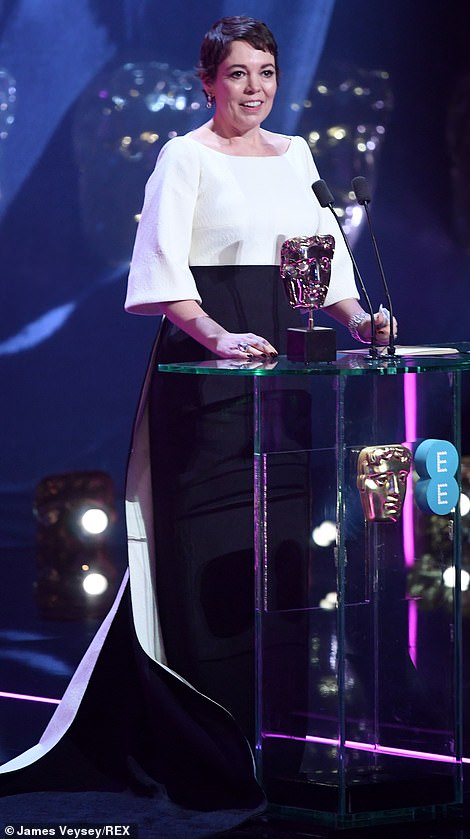 Olivia Colman accepts her award for Best Actress During her speech she said To be in the same company as my fellow nominees is simply extraordinary