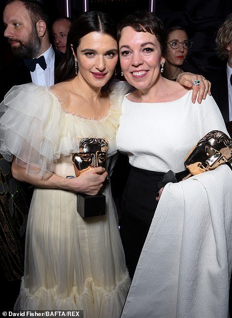 Olivia and Rachel Weisz put on a touching display as they celebrated their wins together holding up their shining awards