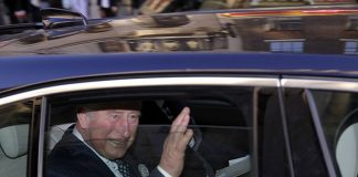 Prince Charles was caught travelling without a seatbelt while leaving St Dunstan in the West Church yesterday
