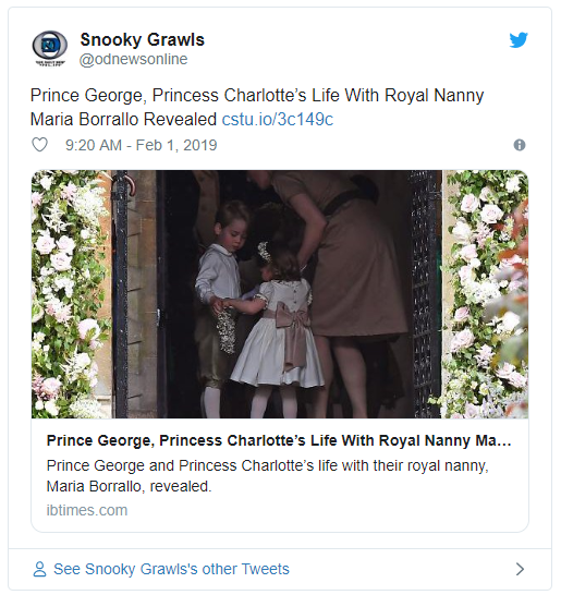 Prince George Princess Charlotte's Life With Royal Nanny Maria Borrallo Revealed Photo C TWITTER