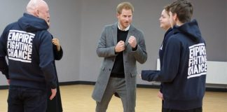 Prince Harry at a boxing charity in Bristol this week Image Getty