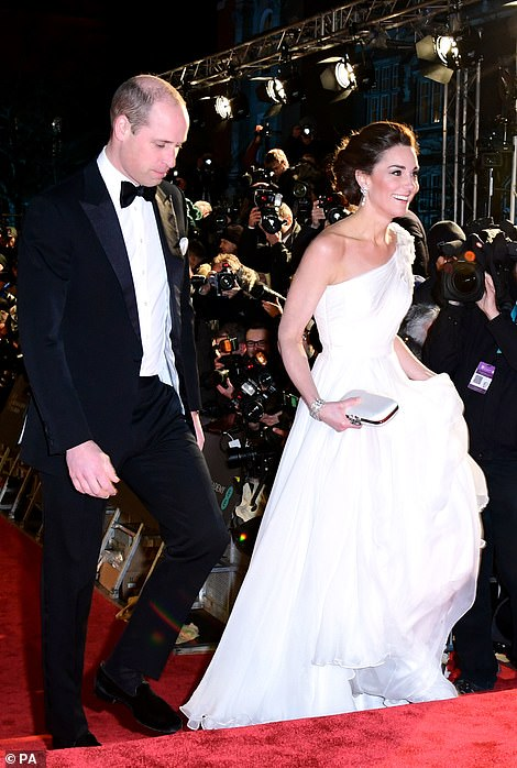 Prince William wore a black dinner suit to the star studded occasion The duke who is the president of BAFTA presented its highest accolade