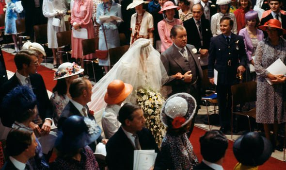 Princess Diana on her wedding day with the th Earl Spencer Image Getty