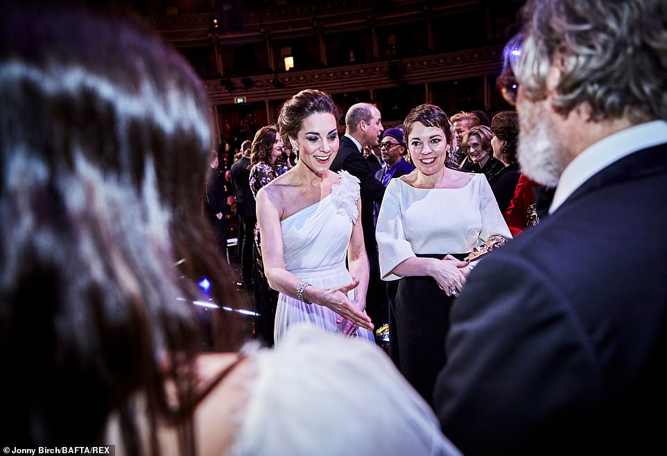 The Duchess of Cambridge spent some time chatting to winner Olivia Colman