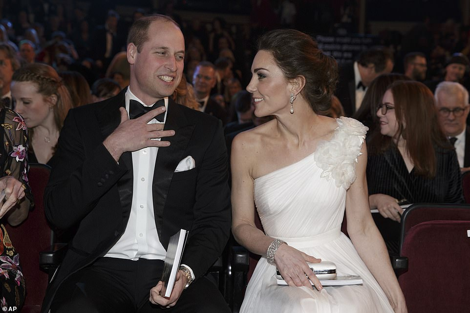The Duke and Duchess of Cambridge appeared in high spirits as they took their seats alongside a host of A listers in Londons Royal Albert Hall on Sunday night