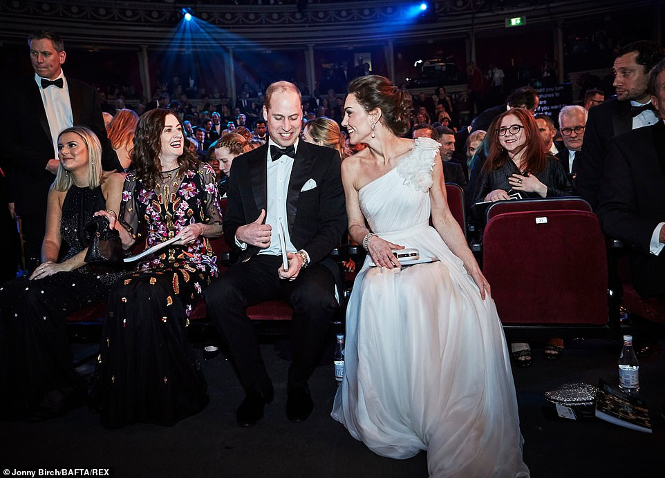 The Duke and Duchess of Cambridge take their seats in the Royal Albert Hall