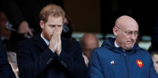 The Duke of Sussex alongside French Rugby Federation president Bernard Laporte in the Twickenham stands before Englands Six Nations clash against France today