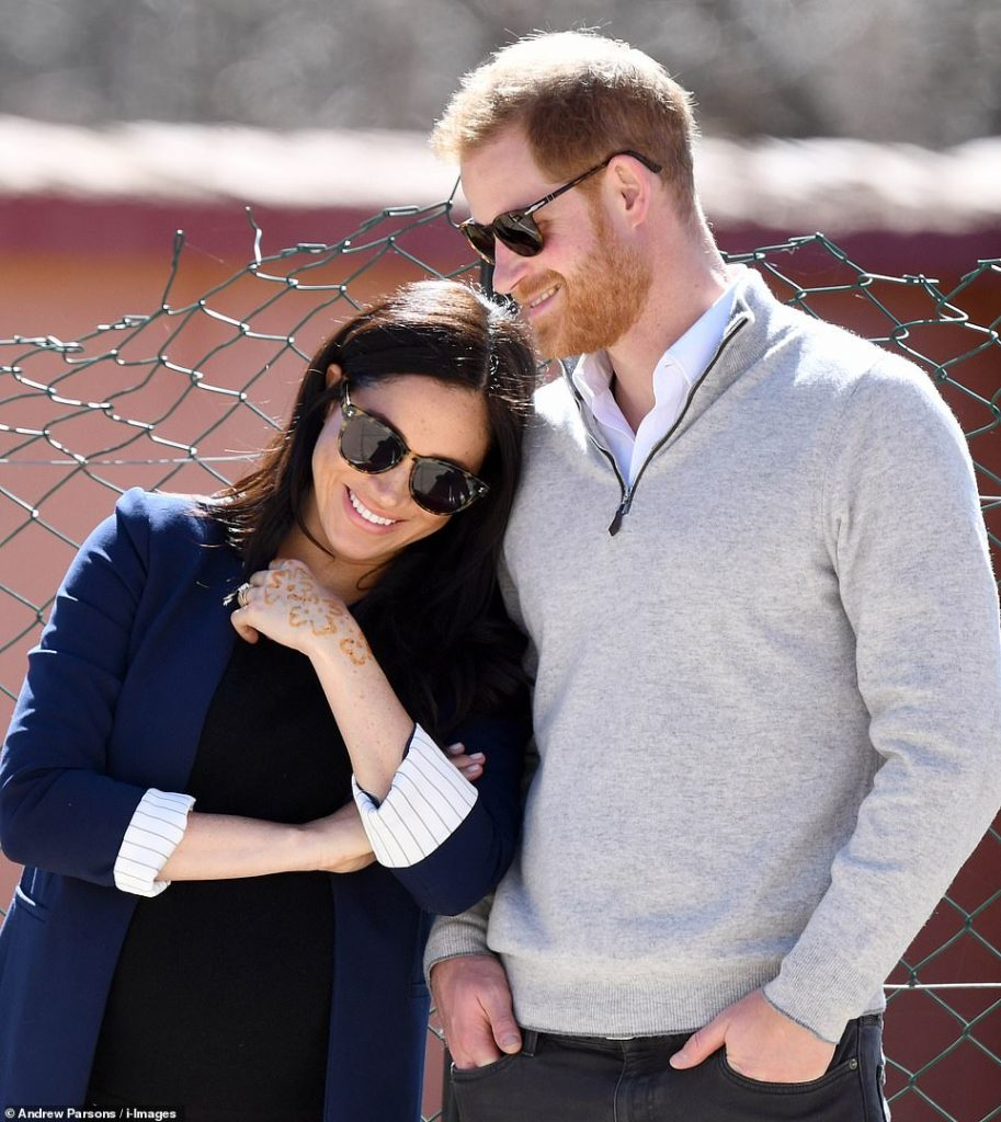 The couple looked loved up as they joined secondary school children for a football match in Asni this morning Tomorrow the couple will visit the Moroccan Royal Federation