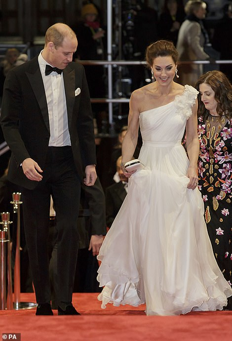The royal mother of three teamed her billowing frock with a pair of shimmering Jimmy Choo Romy in Viola Glitter heels