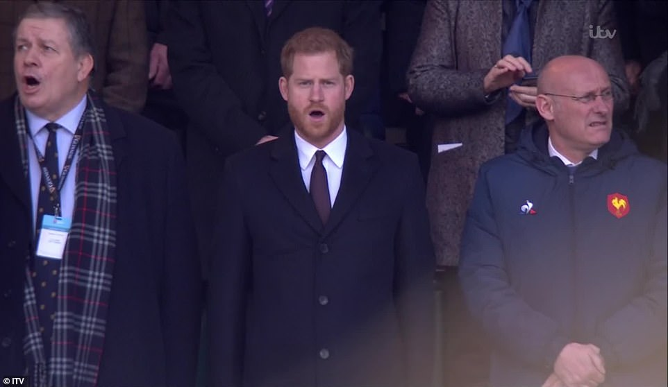 The royal was stood next to Rugby Football Union president Chris Kelly left as he sang the National Anthem with the home crowd