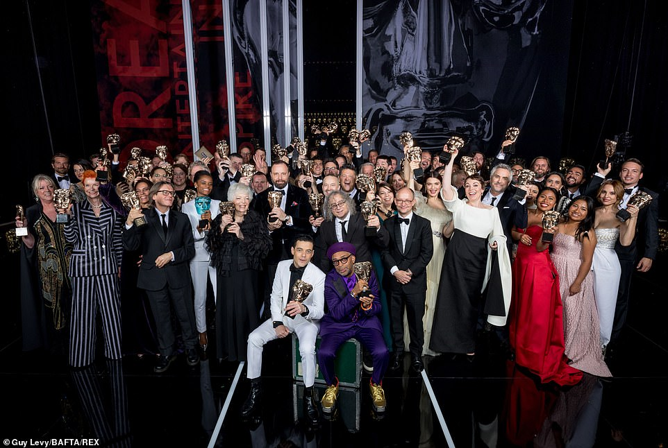 The winners of the night stood together for an incredible group shot At the end of the Awards guests were told to remain in their seats while the royal party