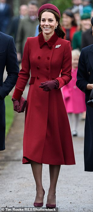 to the collared maroon dress and matching coat worn by Meghan during a visit to the Hubb Community Kitchen in London last year