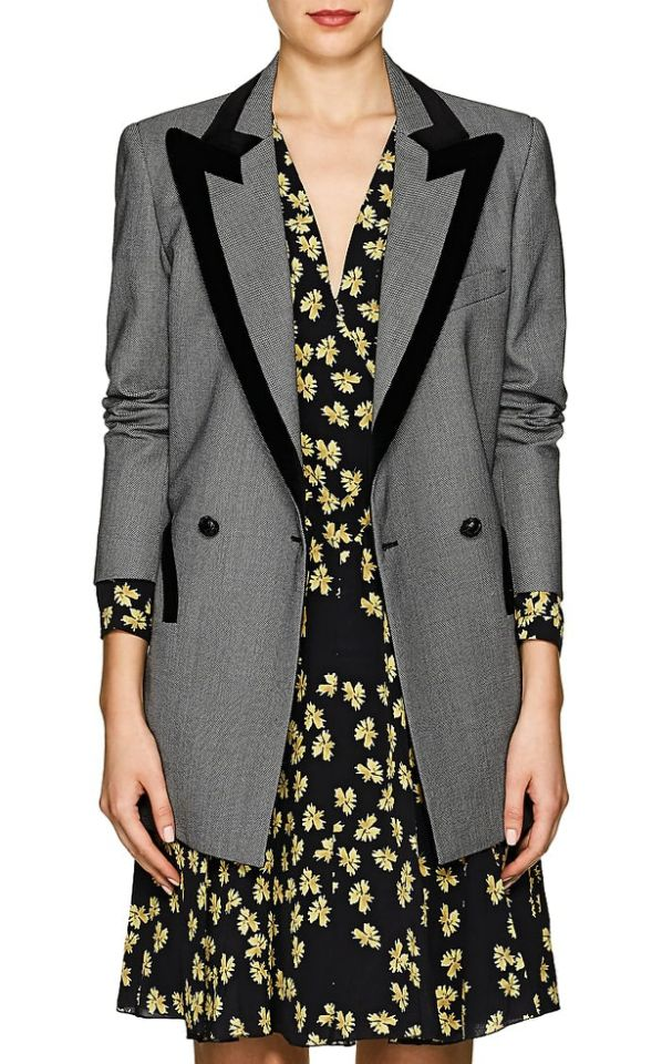 Blazé Milano Everyday Velvet Trimmed Birdseye Wool Blazer Photo C GETTY IMAGES