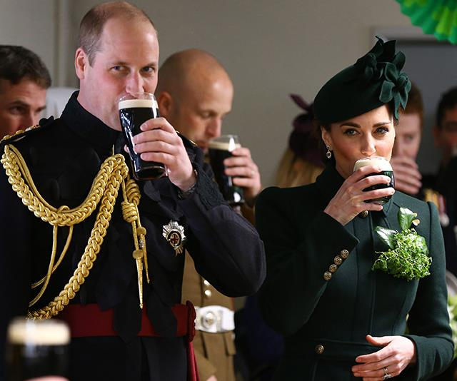 Bottoms up The royal couple enjoyed a glass of Guinness a custom of sorts for the Irish celebration Image Getty